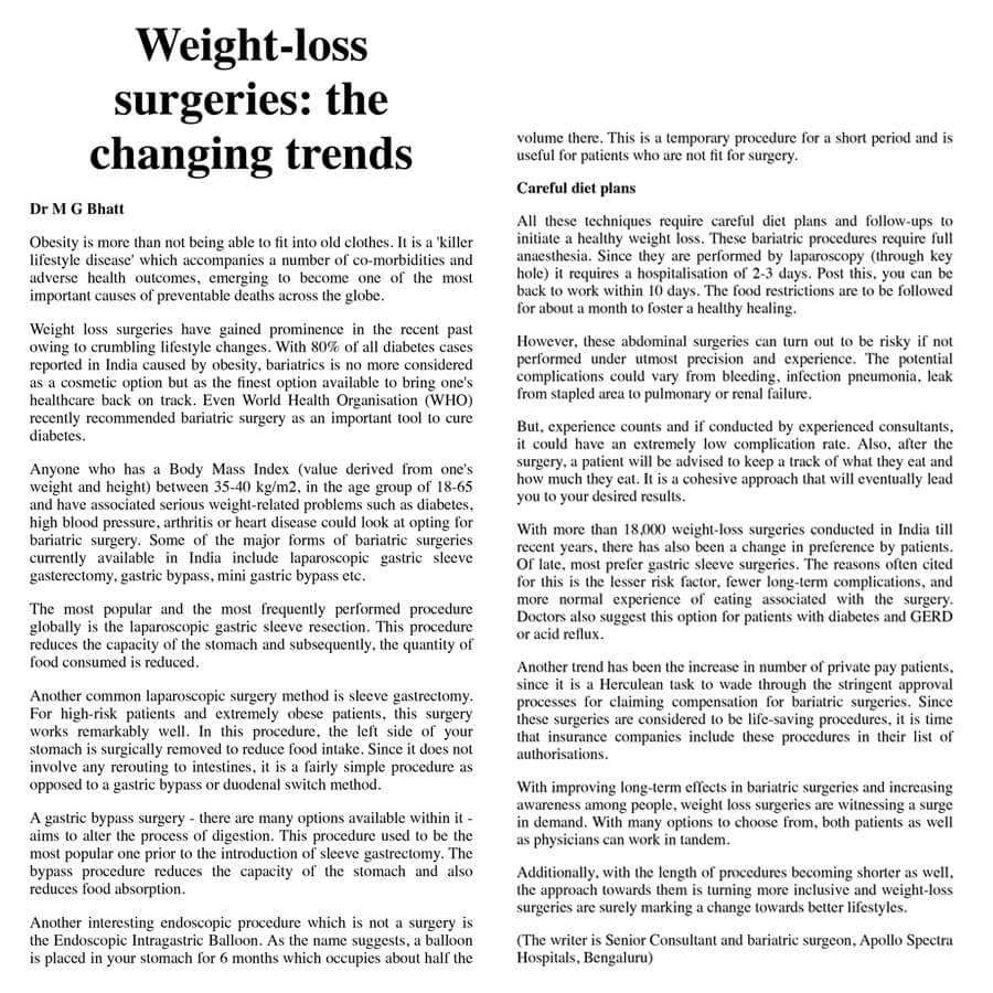 In The News Bariatric Surgery In Bangalore